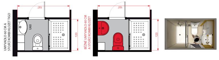 Examples of tigo bathroom solutions in panel buildings jika for Bathroom ideas 3m x 2m